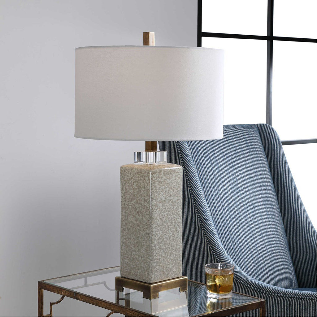 Uttermost Irie Crackled Taupe Table Lamp