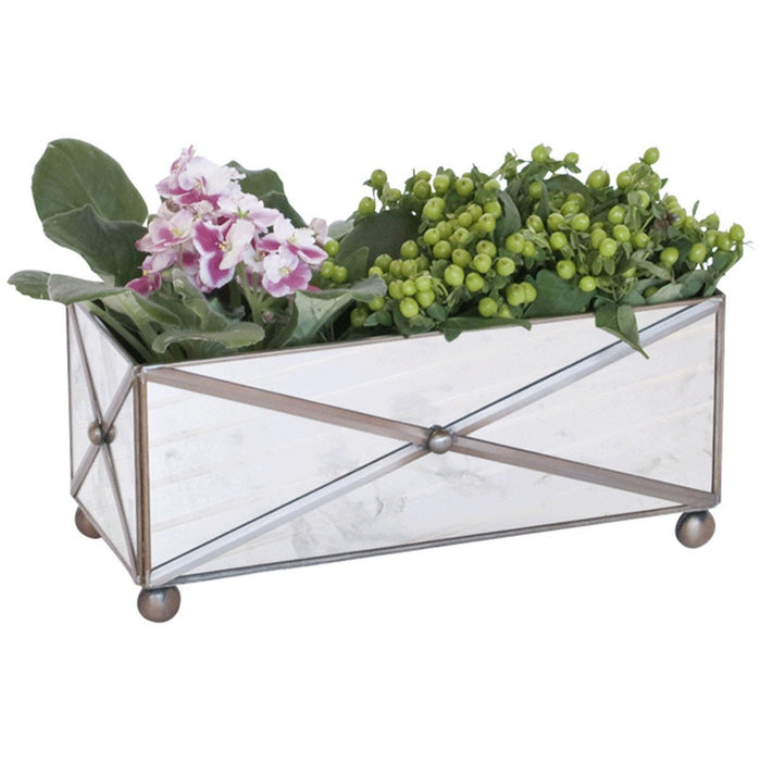 Worlds Away Rectangular Crosshatch Antique Mirror Planter AMT125