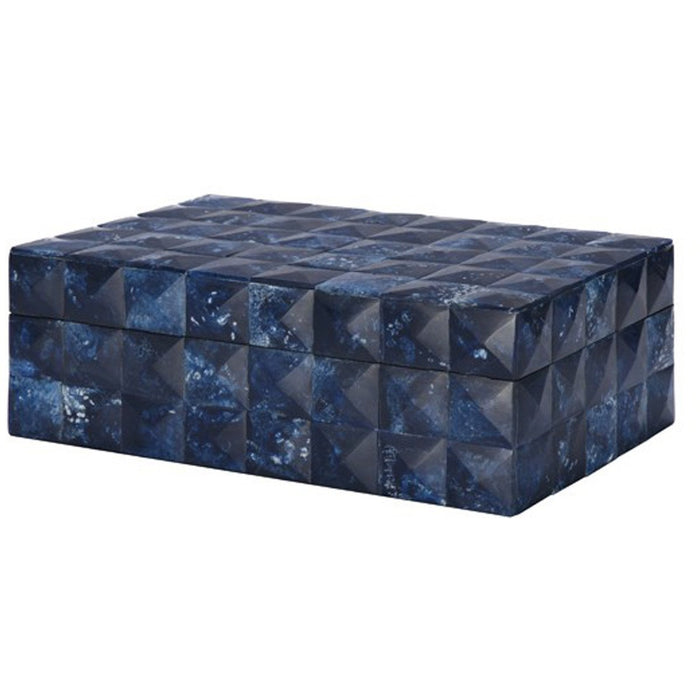Worlds Away Hand Crafted Decorative Box in A Blue Geometric Pattern