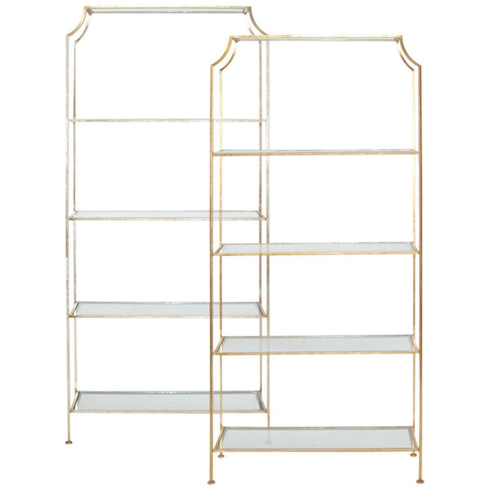 Worlds Away Etagere with Clear Glass Shelves CHLOE G