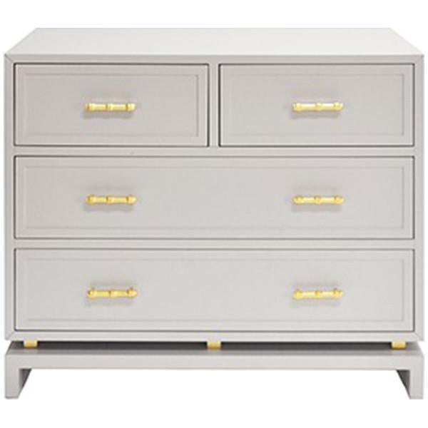 Worlds Away Four Drawer Chest with Gold Leaf Hardware