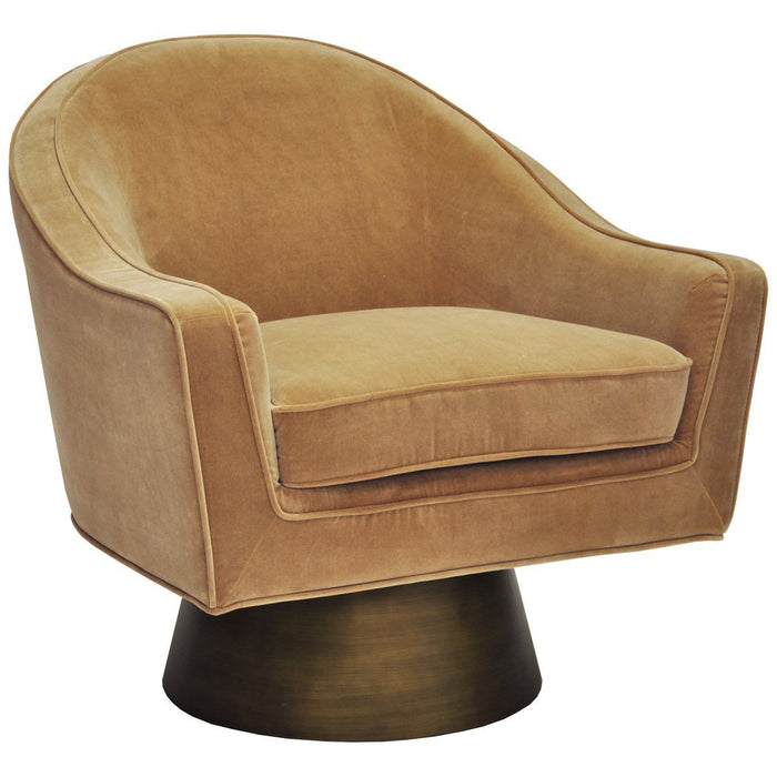 Worlds Away Dominic Swivel Chair with Bronze Base in Camel Velvet