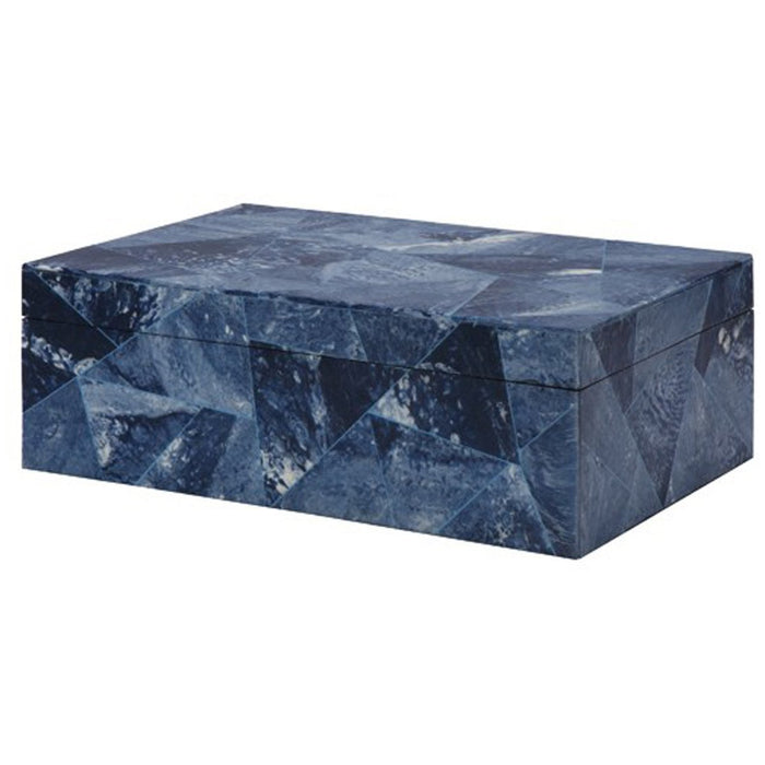 Worlds Away Hand Crafted Decorative Box in Various Blues