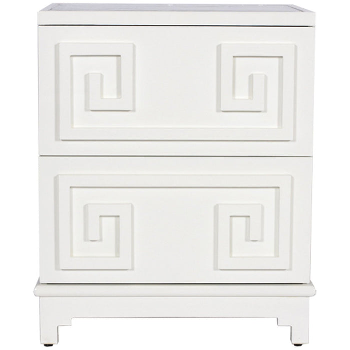 Worlds Away 2-Drawer Greek Key Nightstand PAGODA LIO