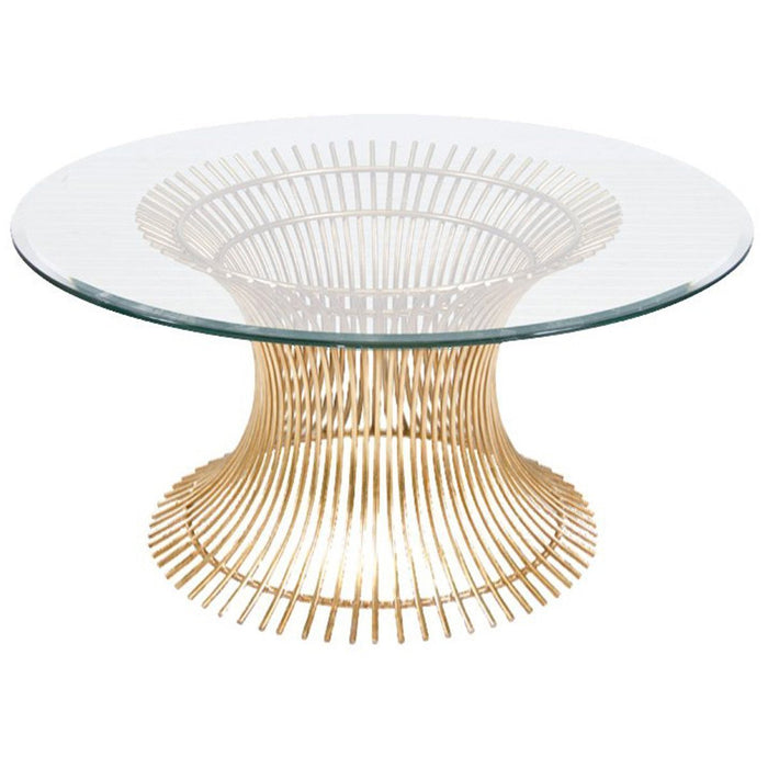 Worlds Away Powell Round Glass Top Coffee Table