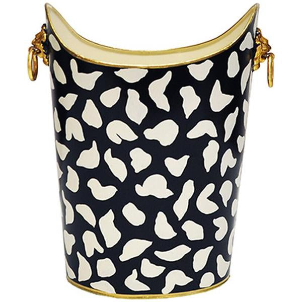 Worlds Away Oval Wastebasket with Lion Handles in Black Leopard