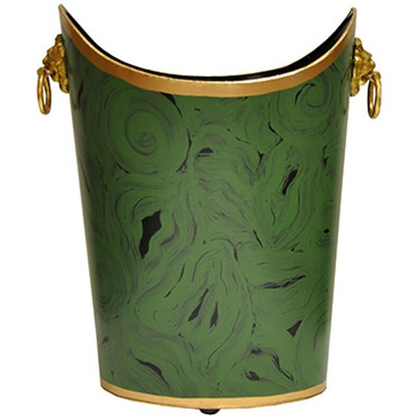 Worlds Away Oval Wastebasket with Lion Handles in Malachite
