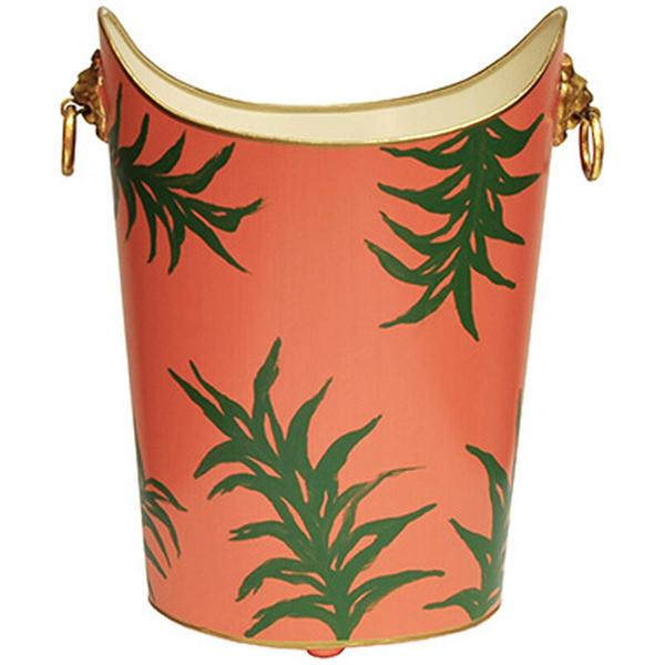 Worlds Away Oval Wastebasket with Lion Handles in Palm