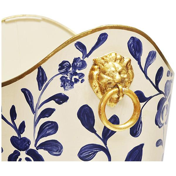 Worlds Away Oval Wastebasket with Lion Handles in Navy Vine