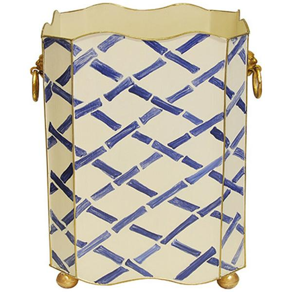 Worlds Away Square Wastebasket with Lion Handles