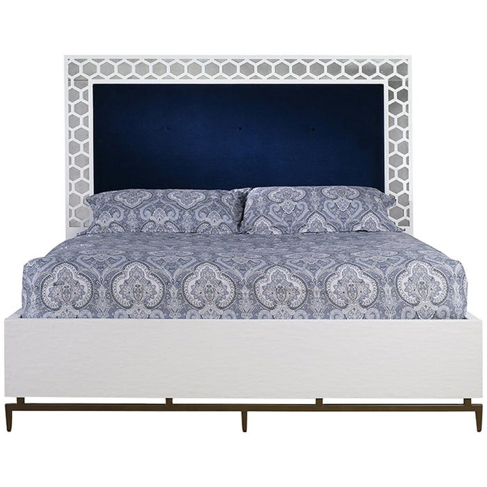Mr. Brown London Wilhelm Bed with Aged Mirror in Velvet