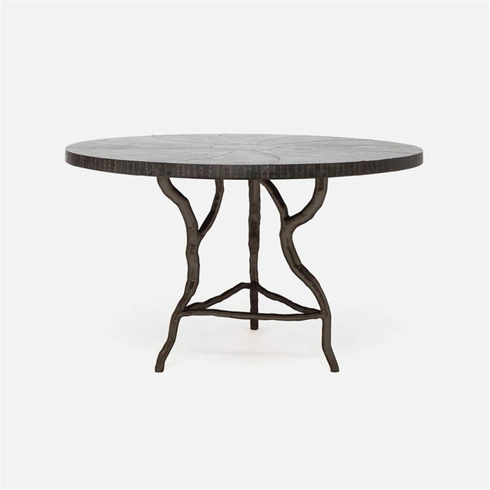 Made Goods Royce Round Abstract Branch Dining Table, Metal