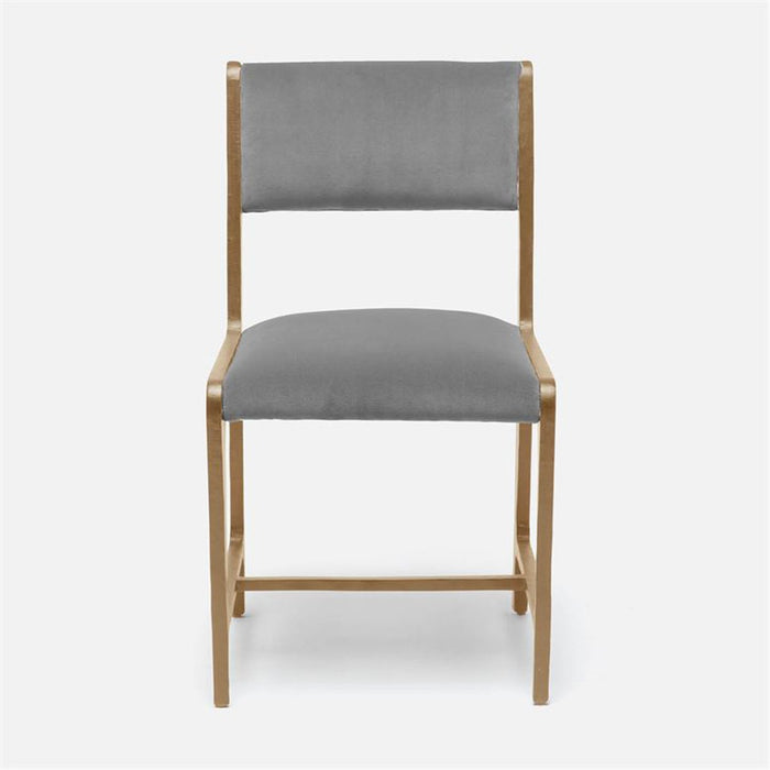 Made Goods Vallois Contemporary Metal Side Chair, Rhone Leather