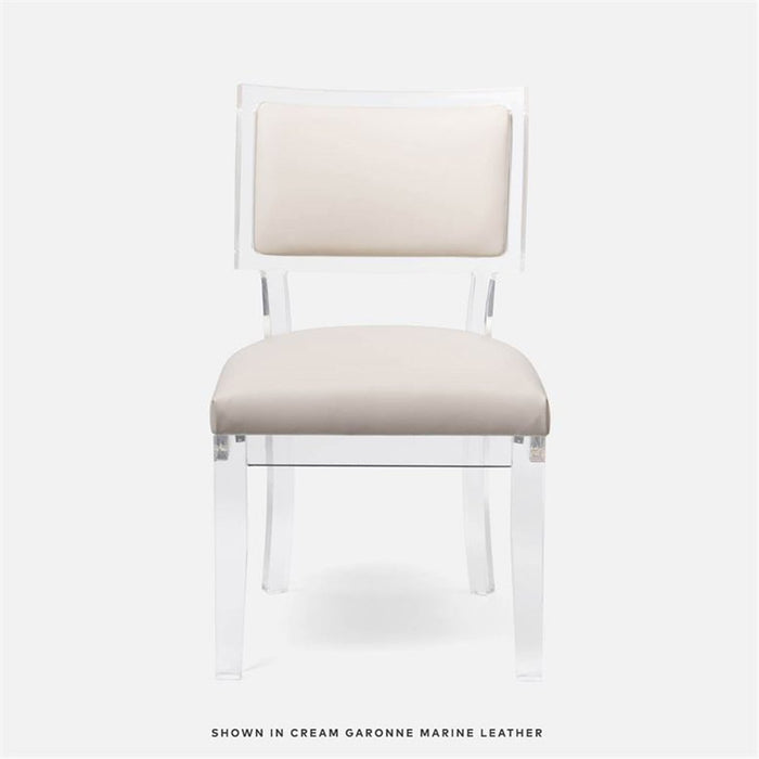 Made Goods Winston Clear Acrylic Dining Chair, Rhone Leather