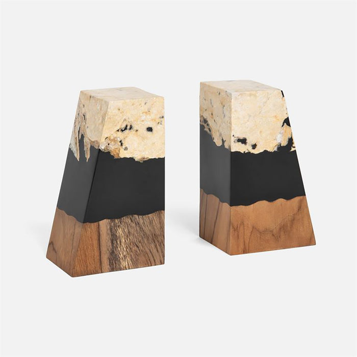 Made Goods Bradley Teak/Stone Bookends, 2-Piece Set