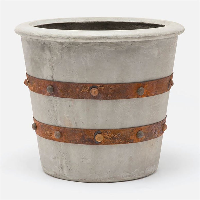 Made Goods Rorike Concrete Outdoor Planter with Metal Rings