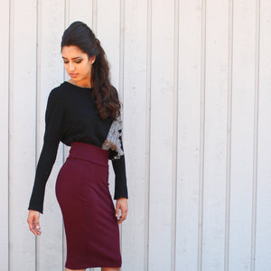 Midi pencil skirt burgundy wiggle skirt cop top sweatshirt with gray color block Fall Collection Rose Temple clothing