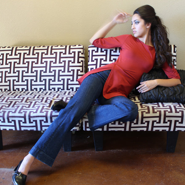 Red tunic top with peplum  Fall fashion ecofriendly