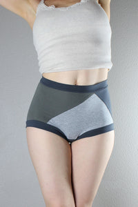 Triple grey, high waisted panties, Color Block