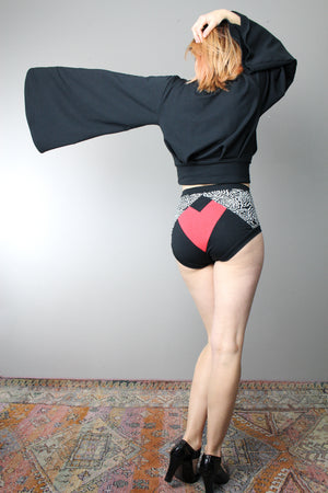 High Waisted Panties, XS - XXXL  Black and White with Red Heart