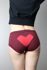 Burgundy Red Heart, Panties