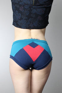 Blue with Red Heart, Panties, Color Block