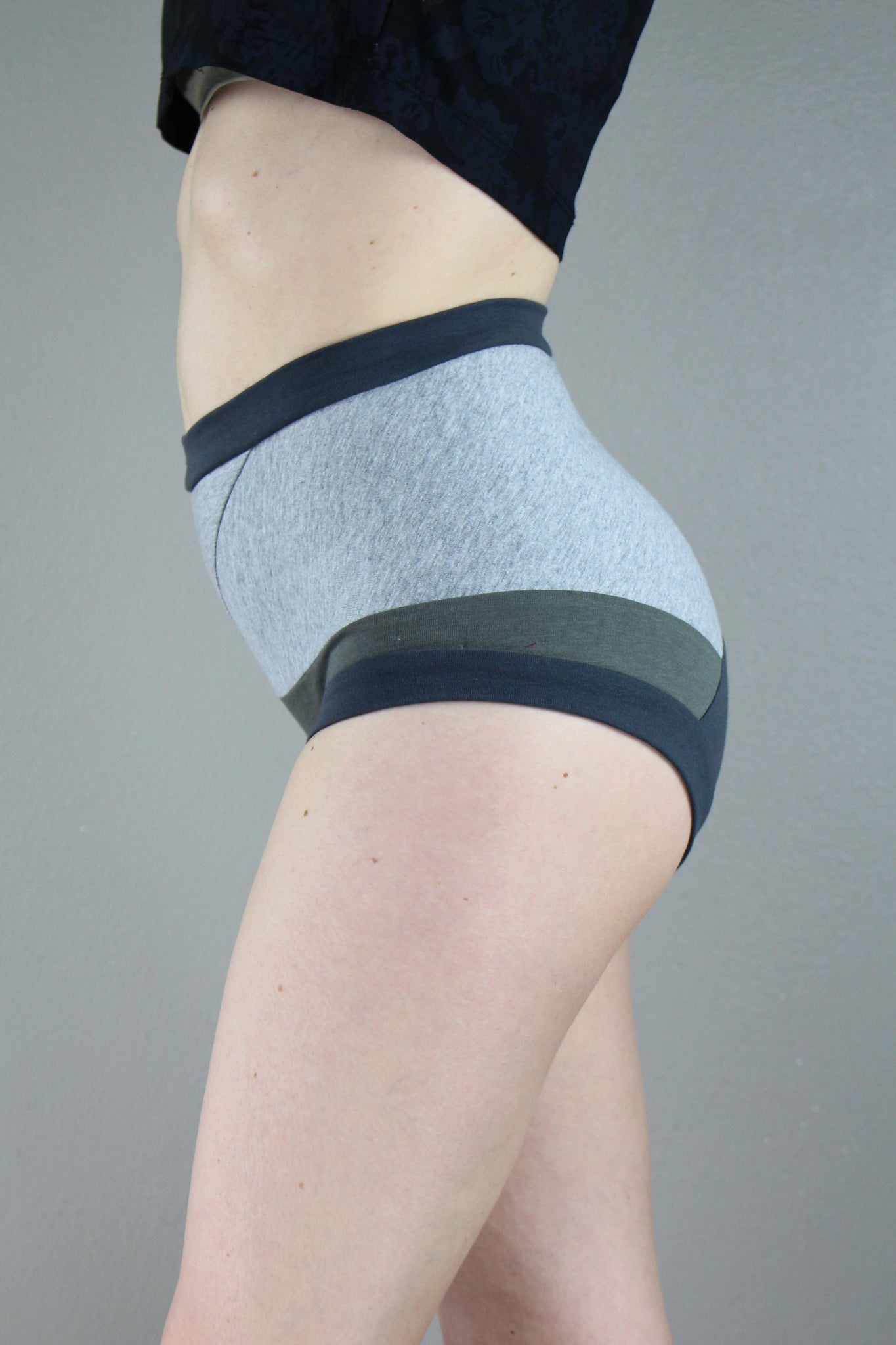 Three gray, High Waist Panties, Color Block