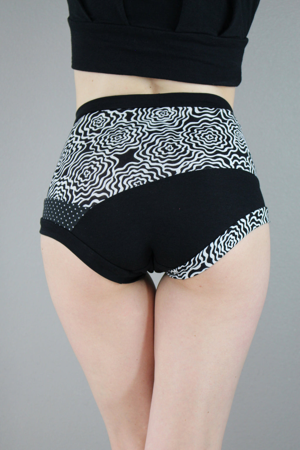 Black and white print, High Waist Panties, Color Block