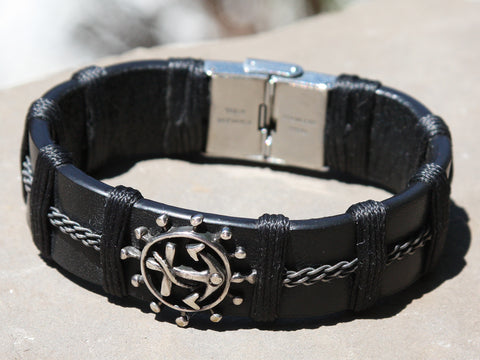 Black Leather and Silver Anchor Bracelet
