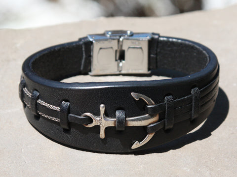Black Leather and Silver Anchor Cuff Bracelet