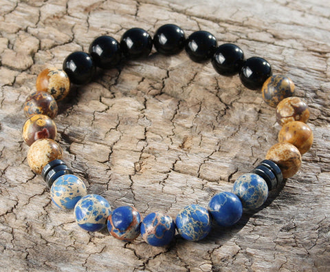 Brown Agate and Blue Sodalite Natural Stone Bracelet