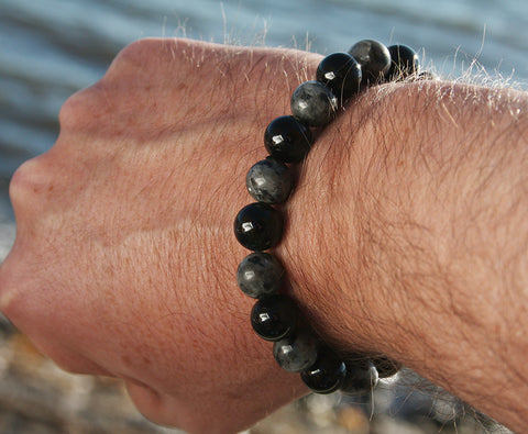 Labrodorite and Onyx Big Bead Natural Stone Bracelet