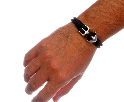 Black Leather Bracelet with Silver Plated Anchor Clasp 3