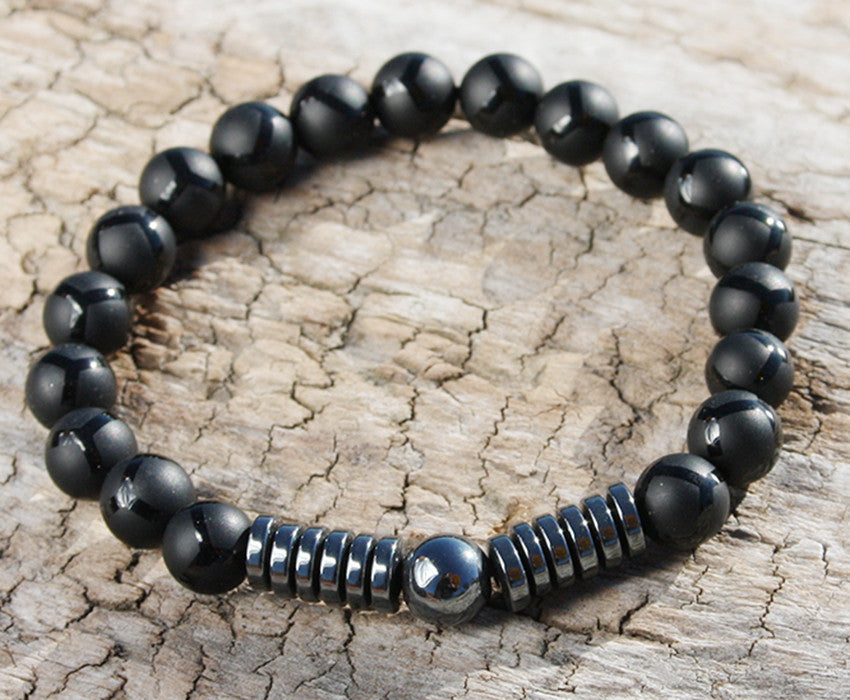 Matte Onyx and Hematite Natural Stone Bracelet