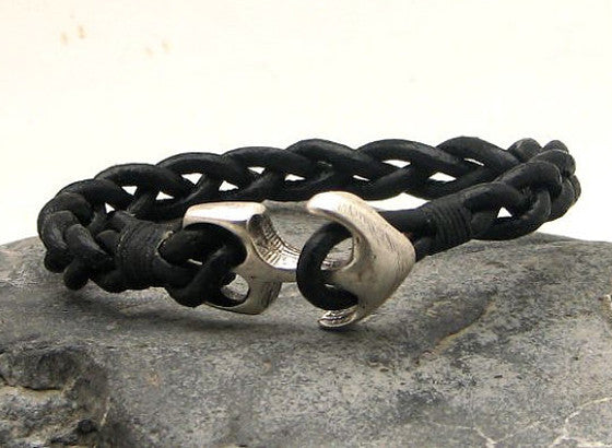 Black Braided Leather Bracelet with Anchor Clasp 1