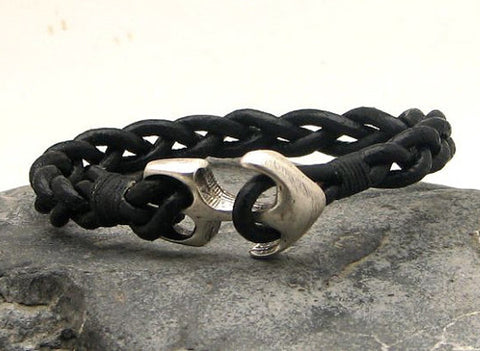 Black Braided Leather Bracelet with Anchor Clasp