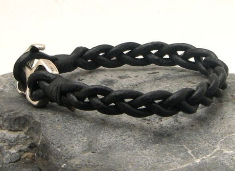 Black Braided Leather Bracelet with Anchor Clasp 2