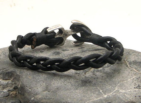 Black Braided Leather Bracelet with Anchor Clasp 3