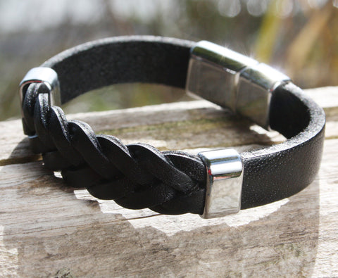 Black Braided and Solid Leather Bracelet with a Sliding Magnetic Clasp