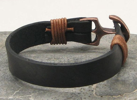 Black Leather Cuff Bracelet with Antique Brown Anchor Clasp 2