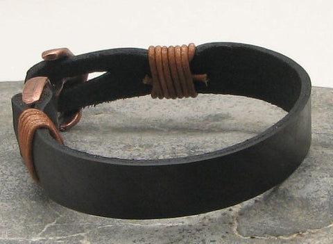 Black Leather Cuff Bracelet with Antique Brown Anchor Clasp 3