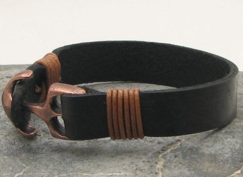 Black Leather Cuff Bracelet with Antique Brown Anchor Clasp 4