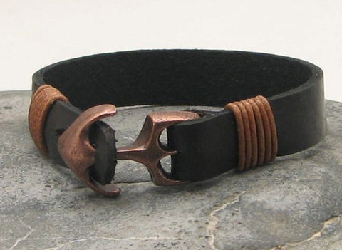 Black Leather Cuff Bracelet with Antique Brown Anchor Clasp