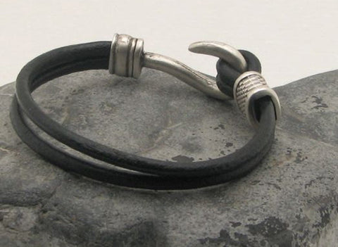 Black Leather Dual Strand Bracelet with Fish Hook Clasp 1