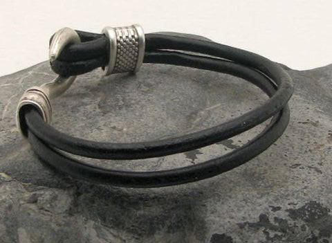 Black Leather Dual Strand Bracelet with Fish Hook Clasp 3