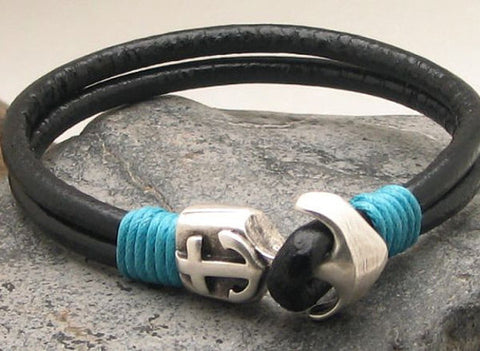 Black Leather Dual Strand Bracelet with Turquoise Thread and Anchor Clasp
