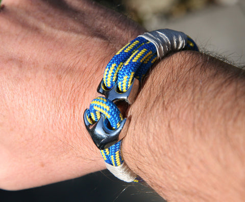 Blue and Yellow Sailing Cord / Paracord Bracelet with a Chrome Anchor Clasp