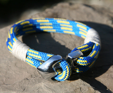 Blue and Yellow Sailing Cord Bracelet with Chrome Anchor Clasp 3