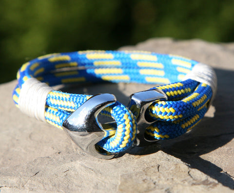 Blue and Yellow Sailing Cord Bracelet with Chrome Anchor Clasp 1