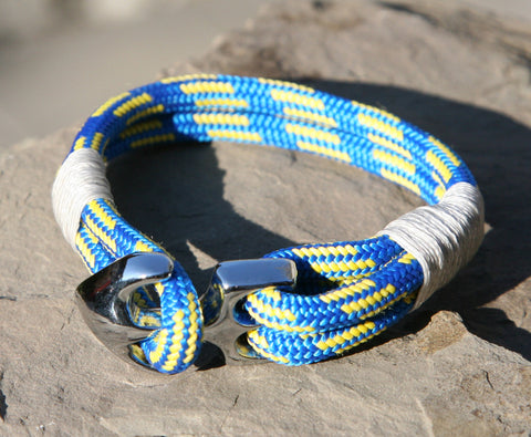 Blue and Yellow Sailing Cord Bracelet with Chrome Anchor Clasp 2